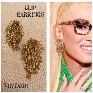 Vintage Gold Cluster Beaded Dangle Clip Earrings